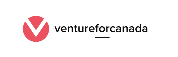 Venture For Canada logo, Venture for Canada is written in black text to the right of a red circle with a V cut out of it.