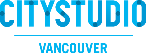 CityStudio logo consisting of the word CityStudio in large font and different shades of blue, with the word Vancouver underneath in smaller font and a light shade of blue.